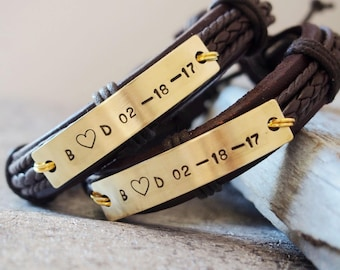 Matching couples Bracelet, matching bracelets, Brown LEATHER Couples bracelet 1st Anniversary Gift Personalized couples bracelet Custom gift