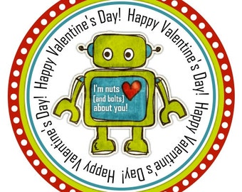 INSTANT DOWLOAD - Robot Valentine's Day Party Printable, You Print, Printable Valentine's Day Tags / Stickers