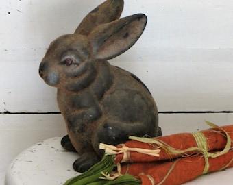 Vintage Large Flocked Rabbit Bank, Flocked Easter Bunny Bank, Vintage Easter Decor