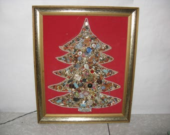 Vintage Christmas jewelry tree wall decor lights up framed