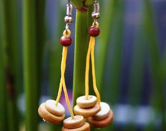 Cheerful Yellow wooden earrings