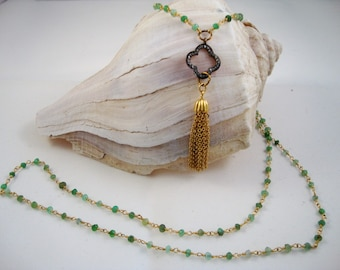 24k gold filled chrysoprase rosary chain with genuine pave diamond clover and vintage gold tassel necklace, simply gorgeous