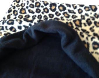 Large DIVA Leopard Print FLEECE Dog Snuggle Sack~Dachshund Sleeping Bag~Doxie Warmer~Burrow Bag~Weenie~Sausage~Pocket Bed~Cave~Gift