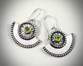 Peridot & Sterling Silver Fan earrings