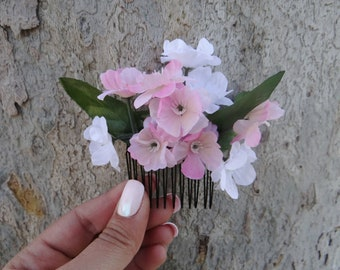 foral hairpiece, white and pink Flower Hair Comb, Fae Flower comb, Flower Hair Piece, pink flower comb, pink flower hair piece