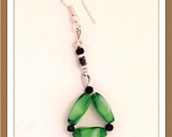 Handmade MWL green,silver and black dangle earrings. 0150