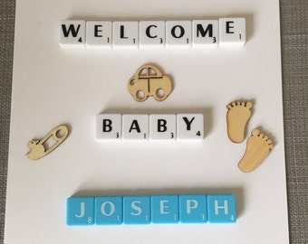 New Baby Card Personalised, Scrabble letters, Name