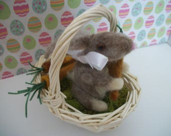 Bunny in a Basket with Carrots