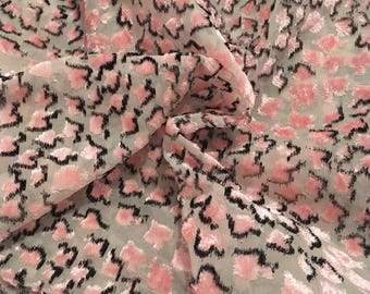 Pink and black burned velvet on Haute Couture silk organza