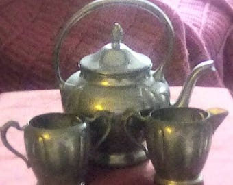 Genuine Pewter Tea or Coffee Pot with Creamer and Sugar