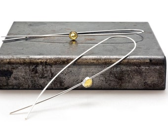 Long Silver Wire Earrings, Original Threader Hoops, Modern Lightweight Drop Earrings, Delicate Minimal Fashion Earrings, Boho Chic