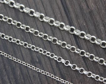 Sterling Silver ROLO Chain by foot,2mm 3mm 3.5mm 4mm ROLO, Silver Chains,1 feet 3 feet 5 feet Rolo Chain