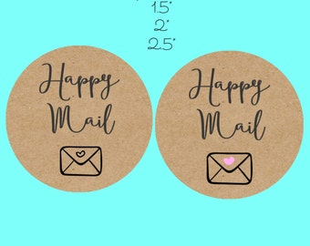 Happy Mail stickers, craft stickers, Happy mail labels, mailing labels