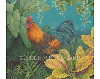 Rooster with Jade Vine, Small Giclée Print