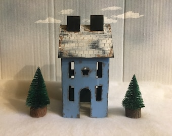 Primitive Tin House and Bottle Brush Trees Set