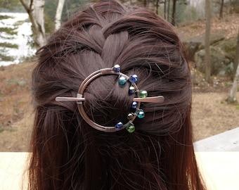 hair barrette blue, handmade hair clips, circle hair clip, blue hair accessory, hair barettes, hair stick accessories for women gift slide