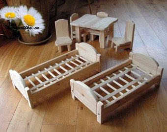 """Large wooden baby doll bed """"Farmer's Dream"""" series, with cotton bedding, waldorf toy, wooden toy, doll house, large wooden doll furniture"""