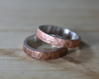 Hammered Copper Ring. Hammered Copper Ring for Woman. Hammered Copper Wedding Band Ring. Hammered Copper and Silver Ring
