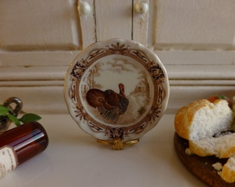 Royal Thanksgiving Turkey Plate for Dollhouse