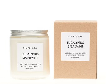 Eucalyptus Spearmint Mantle Jar, Scented Soy Candle, 8 oz