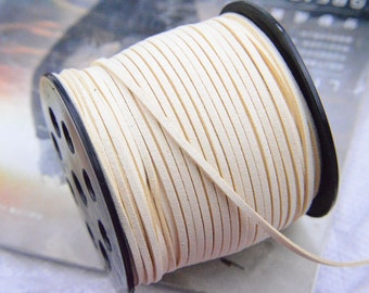 10 yds Cream Faux Suede Cord, faux suede leather strings, mala string, mala thread, leather cord, Leather thread for Jewelry&Crafts 2.5x1mm