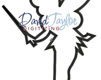 Tinkerbell Silhouette - Embroidery Machine Design - Applique - Instant Download - David Taylor Digitizing