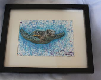 The Turtle by Jodeen Betton hand painted watercolour and gouache original artwork.