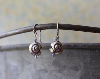 Thai Silver Seashell & Iolite Drop Earrings