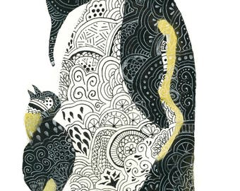 Penguin Zentangle Print