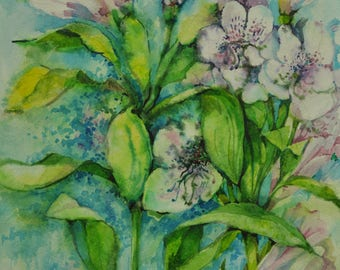 Original Botanical Watercolor Painting, Alstroemeria Pelegrina , Lilies, Flowers, Watercolor