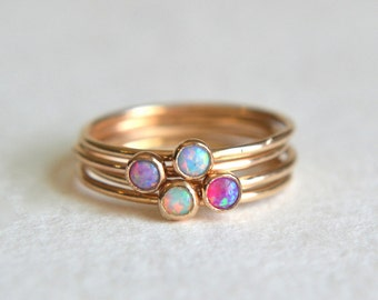 Set Four Opal Gold Filled Rings, Gold Opal Ring, Opal Ring Gold, Gold Blue Opal Ring, Gold Pink Opal Ring, Gold Purple Opal Ring, Stackable