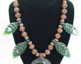 Handmade Artisan Glass Amulet Pendant Necklace w/ Copper Beads and Glass Leaf beads