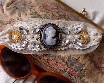 Cameo Lace cuffed embellished bracelet