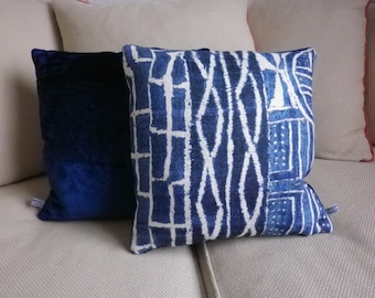 Bright blue decorative pillow
