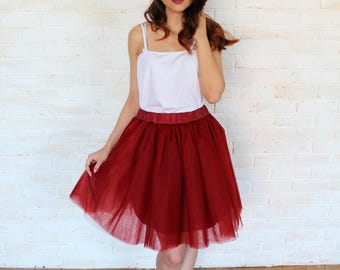 Red tulle skirt, tulle skirt, tutu skirt, red skirt, bridesmaid dress, bridesmaid skirt