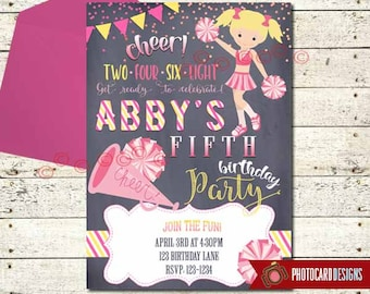 Cheerleader Birthday Invitation, Cheerleader Party, Cheer Birthday Invitation, Dance Invitation, Cheerleader, Digital, Party, Invite