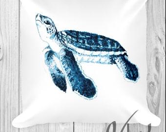 Sea Turtle Decor Pillow cover Bedding Nursery college dorm decorations Sea Turtle Lover gift nautical bedroom Blue white sham ocean animal
