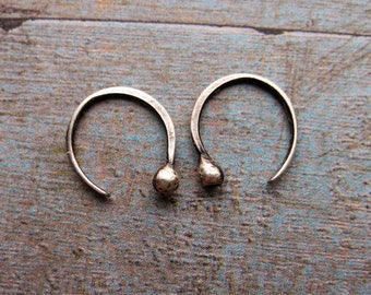 Ear Sprouts in Antiqued Sterling Silver - 1 pair - 20 gauge - 12mm