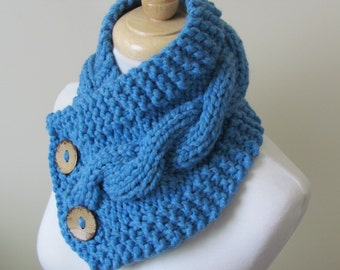 "Knit Neck Warmer, Cable Knit Scarf,  Chunky Warm Winter Scarf in Sky Blue 6"" x 25"" - Coconut Shell Buttons Ready to Ship - Direct Checkout"