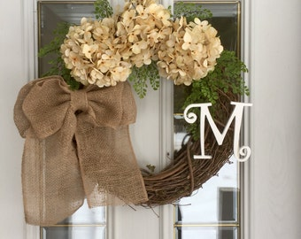Rustic Hydrangea Wreath-Spring Wreath-Monogram Wreath-Initial Wreath-Monogrammed Wreath-front Door Wreath-All Year Wreath-Summer Wreath