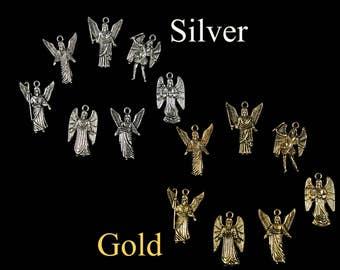 Complete Set 7 Archangel Charms All Arch Angels with Names on Back: Gabriel Joliel Miguel Rafael Samuel Uriel Zadquiel CHOOSE Silver or Gold