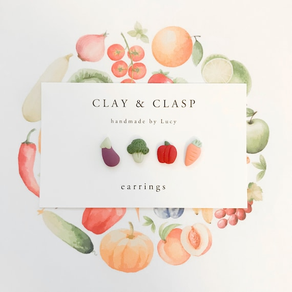 Mis-match Veggie Earrings - beautiful handmade polymer clay jewellery by Clay & Clasp