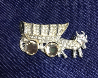 Pot Metal Covered Wagon Brooch