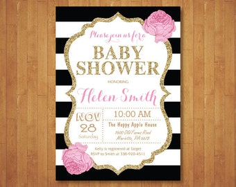 Pink gold baby shower invitation oh baby gold glitter pink and gold baby shower invitation pink black gold glitter floral baby girl shower invitation black stripes printable digital filmwisefo