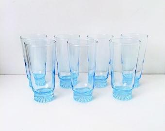 Vintage Blue Water Iced Tea Glasses