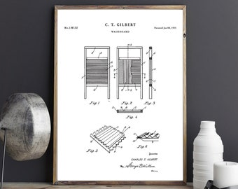 Laundry Room Decor | Washboard Patent Print | Laundry Room Sign |  Blueprint Art | Laundry Poster s | Dry Cleaning Decor| P636