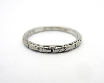 Antique 1908 Traub Orange Blossom Thin Band Platinum Stacking Ring Tribute Sz 6.5 Mother's Day