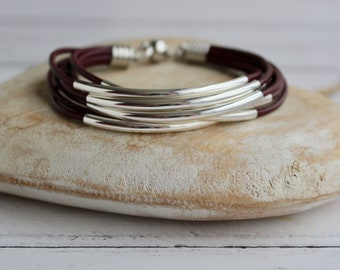 8 leather strand bracelet with 8 noodle beads, silver plated beads, leather cord, magnetic clasp, various colours available, gift idea