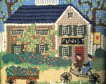 "1980 Dimensions Needlepoint Finished ""Florist"" Framed"