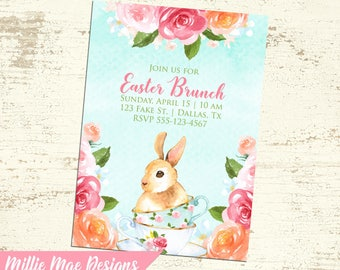 Watercolor Floral Easter Bunny with Teacups - Easter Brunch - Tea Party